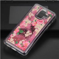 Rose Flower Glassy Glitter Quicksand Dynamic Liquid Soft Phone Case for Samsung Galaxy A6 (2018)
