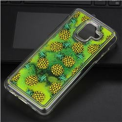 Pineapple Glassy Glitter Quicksand Dynamic Liquid Soft Phone Case for Samsung Galaxy A6 (2018)