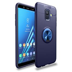 Auto Focus Invisible Ring Holder Soft Phone Case for Samsung Galaxy A6 (2018) - Blue