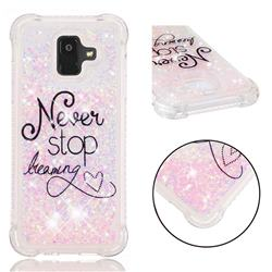Never Stop Dreaming Dynamic Liquid Glitter Sand Quicksand Star TPU Case for Samsung Galaxy A6 (2018)