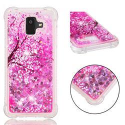 Pink Cherry Blossom Dynamic Liquid Glitter Sand Quicksand Star TPU Case for Samsung Galaxy A6 (2018)