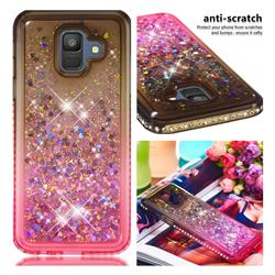 Diamond Frame Liquid Glitter Quicksand Sequins Phone Case for Samsung Galaxy A6 (2018) - Gray Pink