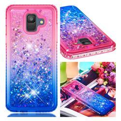 Diamond Frame Liquid Glitter Quicksand Sequins Phone Case for Samsung Galaxy A6 (2018) - Pink Blue