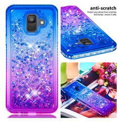 Diamond Frame Liquid Glitter Quicksand Sequins Phone Case for Samsung Galaxy A6 (2018) - Blue Purple