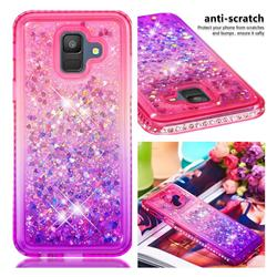 Diamond Frame Liquid Glitter Quicksand Sequins Phone Case for Samsung Galaxy A6 (2018) - Pink Purple