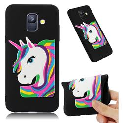 Rainbow Unicorn Soft 3D Silicone Case for Samsung Galaxy A6 (2018) - Black