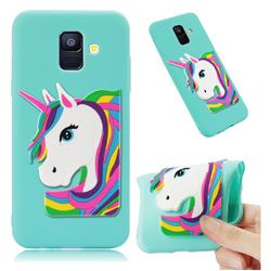 Rainbow Unicorn Soft 3D Silicone Case for Samsung Galaxy A6 (2018) - Sky Blue