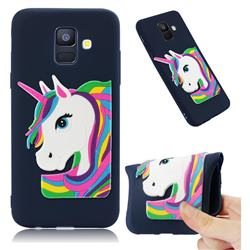 Rainbow Unicorn Soft 3D Silicone Case for Samsung Galaxy A6 (2018) - Navy