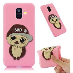 Bad Boy Owl Soft 3D Silicone Case for Samsung Galaxy A6 (2018) - Pink