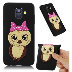 Bowknot Girl Owl Soft 3D Silicone Case for Samsung Galaxy A6 (2018) - Black