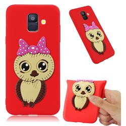 Bowknot Girl Owl Soft 3D Silicone Case for Samsung Galaxy A6 (2018) - Red