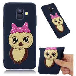Bowknot Girl Owl Soft 3D Silicone Case for Samsung Galaxy A6 (2018) - Navy