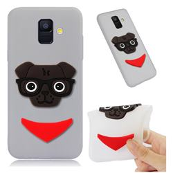 Glasses Dog Soft 3D Silicone Case for Samsung Galaxy A6 (2018) - Translucent White