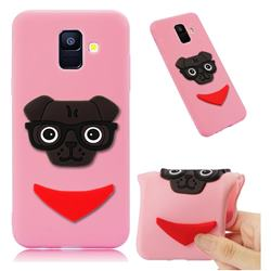 Glasses Dog Soft 3D Silicone Case for Samsung Galaxy A6 (2018) - Pink