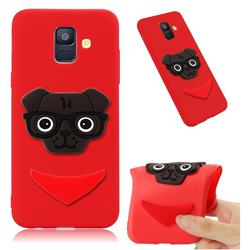 Glasses Dog Soft 3D Silicone Case for Samsung Galaxy A6 (2018) - Red
