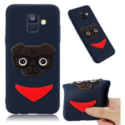 Glasses Dog Soft 3D Silicone Case for Samsung Galaxy A6 (2018) - Navy
