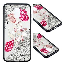 Tulip Lace Diamond Flower Soft TPU Back Cover for Samsung Galaxy A6 (2018)