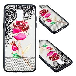 Rose Lace Diamond Flower Soft TPU Back Cover for Samsung Galaxy A6 (2018)