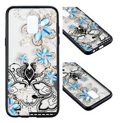 Lilac Lace Diamond Flower Soft TPU Back Cover for Samsung Galaxy A6 (2018)