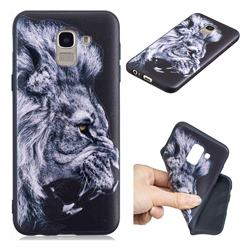 Lion 3D Embossed Relief Black TPU Cell Phone Back Cover for Samsung Galaxy A6 (2018)