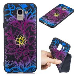 Colorful Lace 3D Embossed Relief Black TPU Cell Phone Back Cover for Samsung Galaxy A6 (2018)