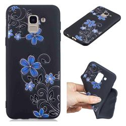 Little Blue Flowers 3D Embossed Relief Black TPU Cell Phone Back Cover for Samsung Galaxy A6 (2018)