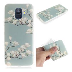 Magnolia Flower IMD Soft TPU Cell Phone Back Cover for Samsung Galaxy A6 (2018)