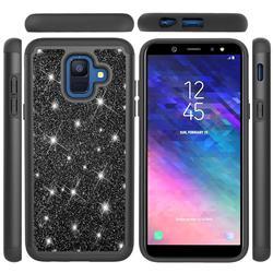 Glitter Rhinestone Bling Shock Absorbing Hybrid Defender Rugged Phone Case Cover for Samsung Galaxy A6 (2018) - Black