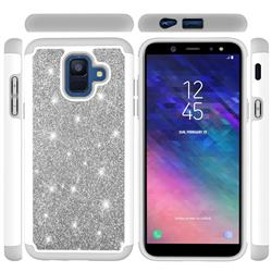 Glitter Rhinestone Bling Shock Absorbing Hybrid Defender Rugged Phone Case Cover for Samsung Galaxy A6 (2018) - Gray