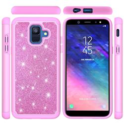 Glitter Rhinestone Bling Shock Absorbing Hybrid Defender Rugged Phone Case Cover for Samsung Galaxy A6 (2018) - Pink