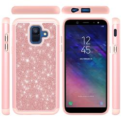 Glitter Rhinestone Bling Shock Absorbing Hybrid Defender Rugged Phone Case Cover for Samsung Galaxy A6 (2018) - Rose Gold