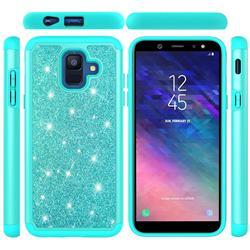 Glitter Rhinestone Bling Shock Absorbing Hybrid Defender Rugged Phone Case Cover for Samsung Galaxy A6 (2018) - Green