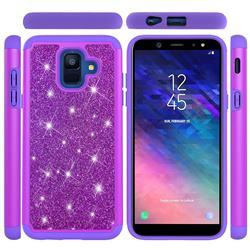 Glitter Rhinestone Bling Shock Absorbing Hybrid Defender Rugged Phone Case Cover for Samsung Galaxy A6 (2018) - Purple