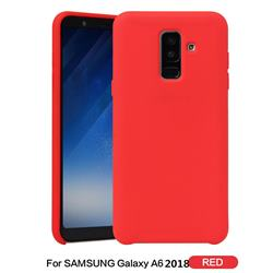 Howmak Slim Liquid Silicone Rubber Shockproof Phone Case Cover for Samsung Galaxy A6 (2018) - Red