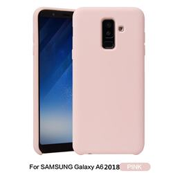 Howmak Slim Liquid Silicone Rubber Shockproof Phone Case Cover for Samsung Galaxy A6 (2018) - Pink