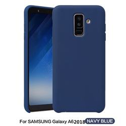 Howmak Slim Liquid Silicone Rubber Shockproof Phone Case Cover for Samsung Galaxy A6 (2018) - Midnight Blue