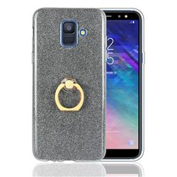 Luxury Soft TPU Glitter Back Ring Cover with 360 Rotate Finger Holder Buckle for Samsung Galaxy A6 (2018) - Black