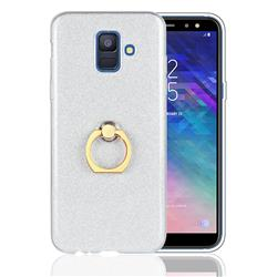 Luxury Soft TPU Glitter Back Ring Cover with 360 Rotate Finger Holder Buckle for Samsung Galaxy A6 (2018) - White