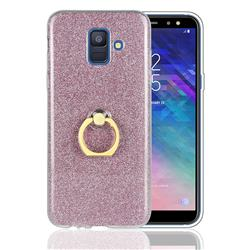 Luxury Soft TPU Glitter Back Ring Cover with 360 Rotate Finger Holder Buckle for Samsung Galaxy A6 (2018) - Pink