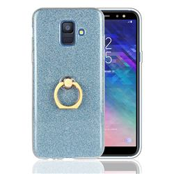 Luxury Soft TPU Glitter Back Ring Cover with 360 Rotate Finger Holder Buckle for Samsung Galaxy A6 (2018) - Blue