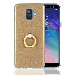 Luxury Soft TPU Glitter Back Ring Cover with 360 Rotate Finger Holder Buckle for Samsung Galaxy A6 (2018) - Golden