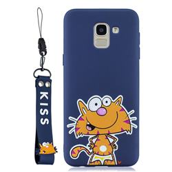 Blue Cute Cat Soft Kiss Candy Hand Strap Silicone Case for Samsung Galaxy A6 (2018)