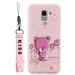Pink Flower Bear Soft Kiss Candy Hand Strap Silicone Case for Samsung Galaxy A6 (2018)