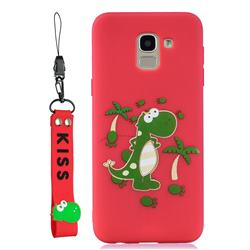 Red Dinosaur Soft Kiss Candy Hand Strap Silicone Case for Samsung Galaxy A6 (2018)