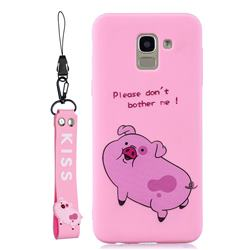 Pink Cute Pig Soft Kiss Candy Hand Strap Silicone Case for Samsung Galaxy A6 (2018)