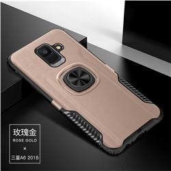 Knight Armor Anti Drop PC + Silicone Invisible Ring Holder Phone Cover for Samsung Galaxy A6 (2018) - Rose Gold