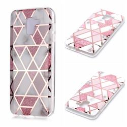 Pink Rhombus Galvanized Rose Gold Marble Phone Back Cover for Samsung Galaxy A6 (2018)