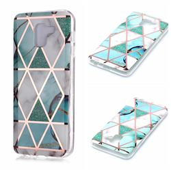 Green White Galvanized Rose Gold Marble Phone Back Cover for Samsung Galaxy A6 (2018)