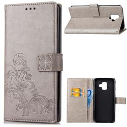 Embossing Imprint Four-Leaf Clover Leather Wallet Case for Samsung Galaxy A6 (2018) - Grey