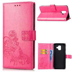 Embossing Imprint Four-Leaf Clover Leather Wallet Case for Samsung Galaxy A6 (2018) - Rose